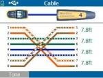ケーブル ID 番号4 を使用した、ペア 1,2 と 7,8 の対交差による誤配線の検出