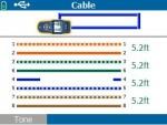 内蔵ワイヤーマップ・ポートを使用して 4 が断線しているケーブル