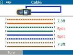 3,6 と 4,5 のペアがスプリットしている誤配線ケーブル
